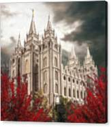 Salt Lake Temple - A Light in the Storm - cropped Canvas Print