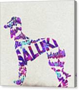 Saluki Dog Watercolor Painting / Typographic Art Canvas Print