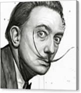 Salvador Dali Portrait Black And White Watercolor Canvas Print
