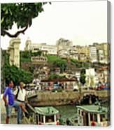 Salvador's Old Port At Noon Canvas Print