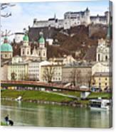 Salzburg City And Fortress  Canvas Print