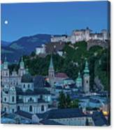 Salzburg City With Hohensalzburg Fortress, Salzburger Land, Austria Canvas Print