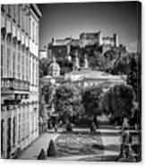 Salzburg Wonderful View To Salzburg Fortress Monochrome Canvas Print