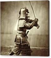 Samurai With Raised Sword Canvas Print