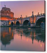 San Angelo Bridge And Castel Sant Angelo Canvas Print
