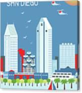 San Diego California Vertical Skyline Canvas Print