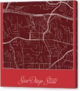 San Diego State Street Map - San Diego State University San Dieg Canvas Print
