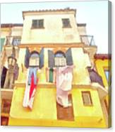 San Felice Circeo Building With The Put Clothes Canvas Print