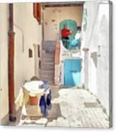San Felice Circeo Man Puts On Clothes Canvas Print