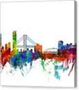 San Francisco And Pittsburgh Skylines Mashup Canvas Print