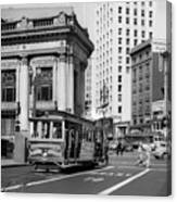 San Francisco Cable Car During Wwii Canvas Print