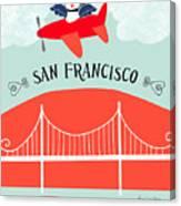 San Francisco California Vertical Scene - Bird In Plane Over San Francisco Canvas Print