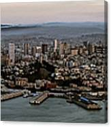 San Francisco City Skyline Panorama At Sunset Aerial Canvas Print