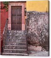 San Miguel Steps And Door Canvas Print