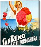San Remo, Italian Riviera, Girl With Flowers Canvas Print