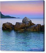 Sand Rocks In The Sea At Sunset Canvas Print