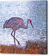Sandhill Crane Stroll Painted Canvas Print