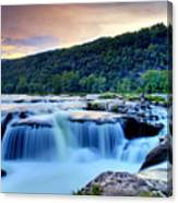 Sandstone Falls At Sunset In West Virginia   Hdr Canvas Print