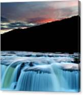 Sandstone Falls At Sunset In West Virginia Canvas Print