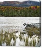 Sandy Stream Pond View Of Baxter Peak In Baxter State Park Maine Canvas Print