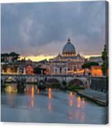 Sant Angelo Bridge At Dusk Canvas Print