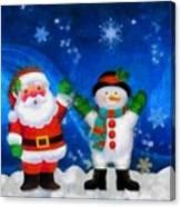 Santa And Frosty Painting Image With Canvased Texture Canvas Print