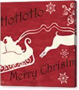 Santa And Reindeer Sleigh Canvas Print