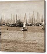 Santa Barbara Harbor Sepia Canvas Print