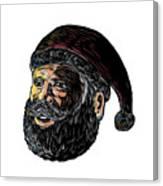 Santa Claus Three-quarter View Scratchboard Canvas Print