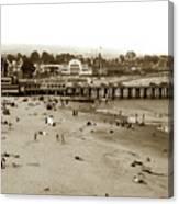 Santa Cruz Beach With Ideal Fish Restaurant 1930's Canvas Print