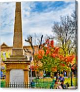 Santa Fe Obelisk A Pigeon And An Accordian Player Canvas Print