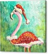 Santa Flamingo Canvas Print
