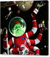 Santa In Space Canvas Print