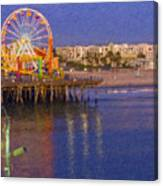 Santa Monica Pacific Park Pier And Lowes Hotel Canvas Print