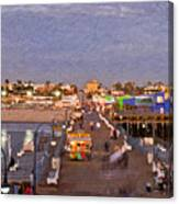 Santa Monica Pacific Park Pier Skyline Panoramic Canvas Print