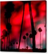 Santa Monica Palms Fiery Red Sunrise Silhouette Canvas Print