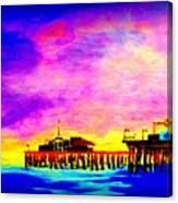 Santa Monica Pier A Night Canvas Print