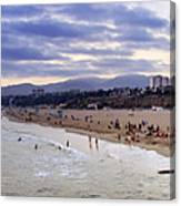 Santa Monica Sunset Panorama Canvas Print