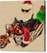 Santa On Motorcycle  Canvas Print