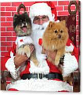 Santa Paws With Two Dogs Canvas Print