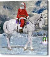 Santa Rides To Town Canvas Print