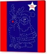 Santa Rudolph Stars Blue 2 Canvas Print