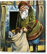 Santa Unpacks His Bag Of Toys On Christmas Eve Canvas Print