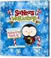 Santa's Workshop Penguin Canvas Print