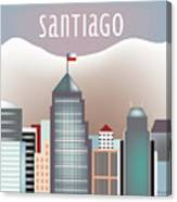 Santiago Chile Horizontal Skyline Canvas Print