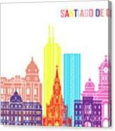 Santiago De Cali Skyline Pop Canvas Print