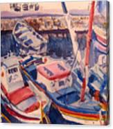Santorini Boats Study Canvas Print