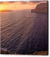 Santorini Caldera Sunset Canvas Print