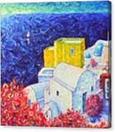Santorini Oia Colors Modern Impressionist Impasto Palette Knife Oil Painting By Ana Maria Edulescu Canvas Print