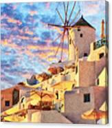 Santorini Windmill At Oia Digital Painting Canvas Print